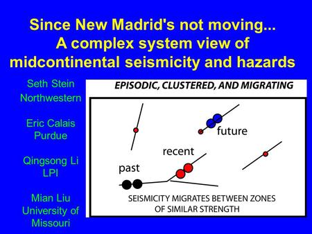 Since New Madrid's not moving... A complex system view of midcontinental seismicity and hazards Seth Stein Northwestern Eric Calais Purdue Qingsong Li.