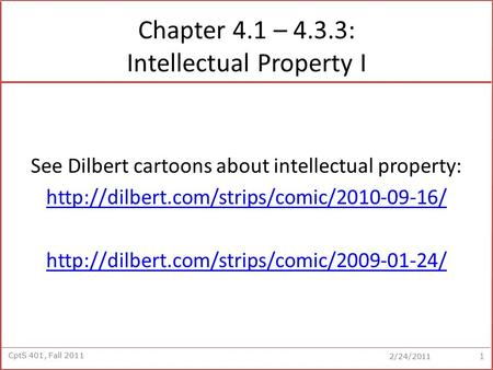 Chapter 4.1 – 4.3.3: Intellectual Property I