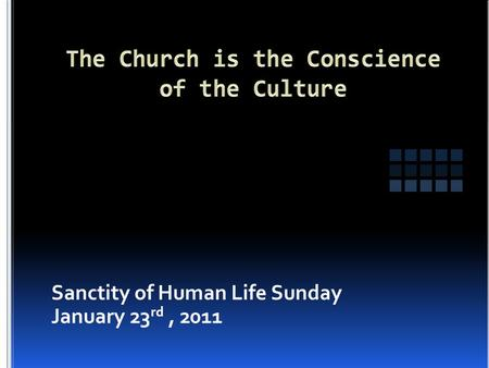 Sanctity of Human Life Sunday January 23 rd, 2011.