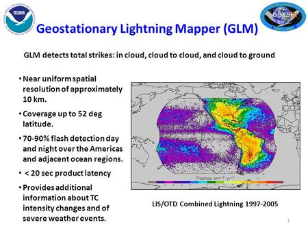 Geostationary Lightning Mapper (GLM) 1 Near uniform spatial resolution of approximately 10 km. Coverage up to 52 deg latitude. 70-90% flash detection day.