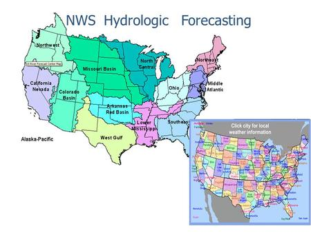 NWS Hydrologic Forecasting. Functions and relations 2 River Forecast Center WFO 1WFO 2WFO 3 Implementation, calibration and execution of river forecast.