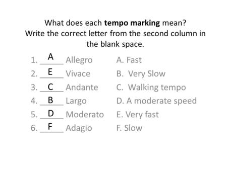 What does each tempo marking mean? Write the correct letter from the second column in the blank space. 1. _____ Allegro 2. _____ Vivace 3. _____ Andante.