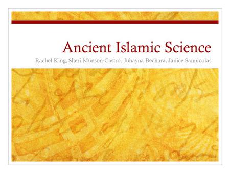 Ancient Islamic Science