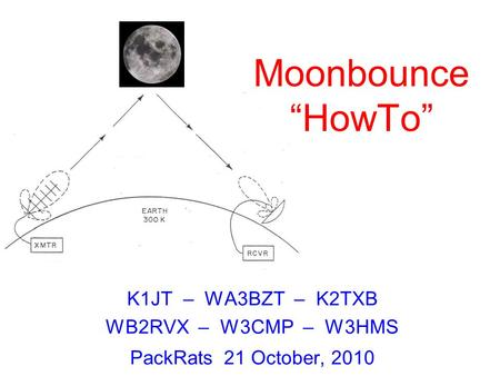 "K1JT – WA3BZT – K2TXB WB2RVX – W3CMP – W3HMS PackRats 21 October, 2010 Moonbounce ""HowTo"""