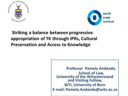 Professor Pamela Andanda, School of Law, University of the Witwatersrand and Visiting Fellow, WTI, University of Bern