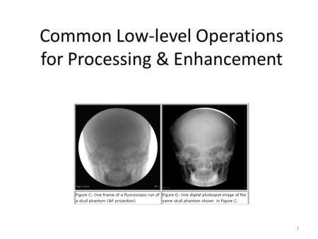 Common Low-level Operations for Processing & Enhancement 1.