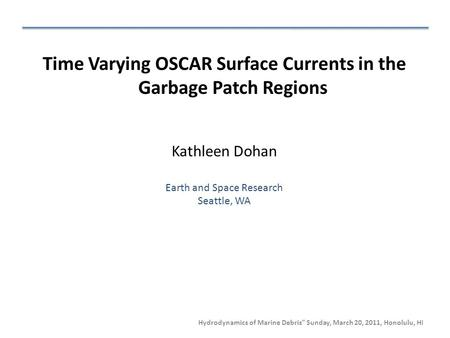 "Hydrodynamics of Marine Debris"" Sunday, March 20, 2011, Honolulu, HI Time Varying OSCAR Surface Currents in the Garbage Patch Regions Kathleen Dohan Earth."