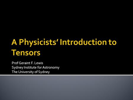 A Physicists' Introduction to Tensors