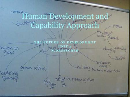THE FUTURE OF DEVELOPMENT UNIT 3 N.DRESSCHER Human Development and Capability Approach.