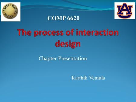 COMP 6620 Chapter Presentation Karthik Vemula. Agenda:-  User Centered Approach  Basic Activities of Interaction Design.  In Class Assignment.