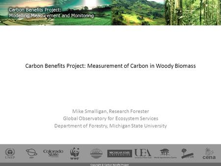 Carbon Benefits Project: Measurement of Carbon in Woody Biomass Mike Smalligan, Research Forester Global Observatory for Ecosystem Services Department.