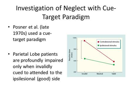 Investigation of Neglect with Cue- Target Paradigm Posner et al. (late 1970s) used a cue- target paradigm Parietal Lobe patients are profoundly impaired.