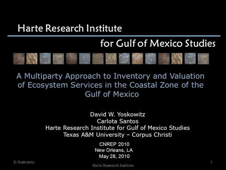 Harte Research Institute for Gulf of Mexico Studies David W. Yoskowitz Carlota Santos Harte Research Institute for Gulf of Mexico Studies Texas A&M University.