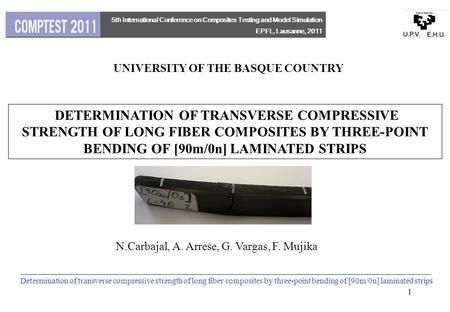 UNIVERSITY OF THE BASQUE COUNTRY DETERMINATION OF TRANSVERSE COMPRESSIVE STRENGTH OF LONG FIBER COMPOSITES BY THREE-POINT BENDING OF [90m/0n] LAMINATED.