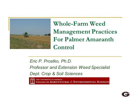 Eric P. Prostko, Ph.D. Professor and Extension Weed Specialist Dept. Crop & Soil Sciences Whole-Farm Weed Management Practices For Palmer Amaranth Control.