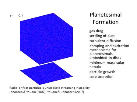 Planetesimal Formation gas drag settling of dust turbulent diffusion damping and excitation mechanisms for planetesimals embedded in disks minimum mass.