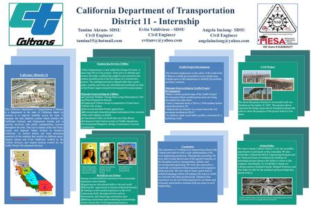 California Department of Transportation District 11 - Internship Angela Inciong- SDSU Civil Engineer Tamina Akram- SDSU Civil Engineer.