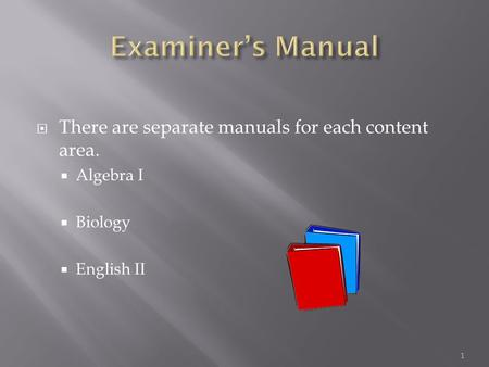  There are separate manuals for each content area.  Algebra I  Biology  English II 1.