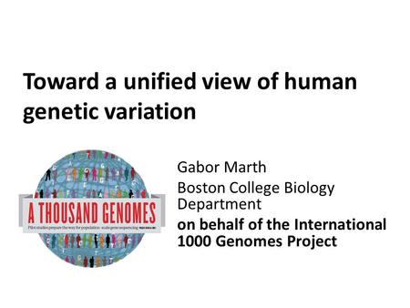 Toward a unified view of human genetic variation Gabor Marth Boston College Biology Department on behalf of the International 1000 Genomes Project.