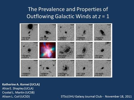 The Prevalence and Properties of Outflowing Galactic Winds at z = 1 Katherine A. Kornei (UCLA) Alice E. Shapley (UCLA) Crystal L. Martin (UCSB) Alison.