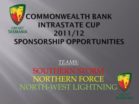 TEAMS: SOUTHERN STORM NORTHERN FORCE NORTH-WEST LIGHTNING.