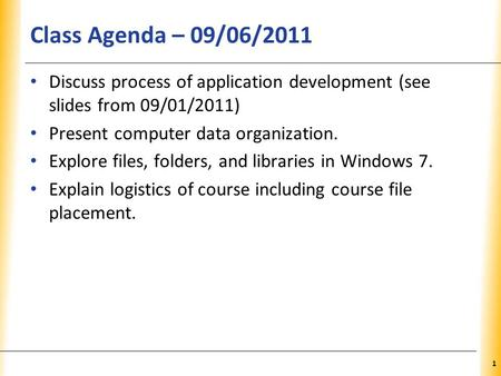 XP Class Agenda – 09/06/2011 Discuss process of application development (see slides from 09/01/2011) Present computer data organization. Explore files,