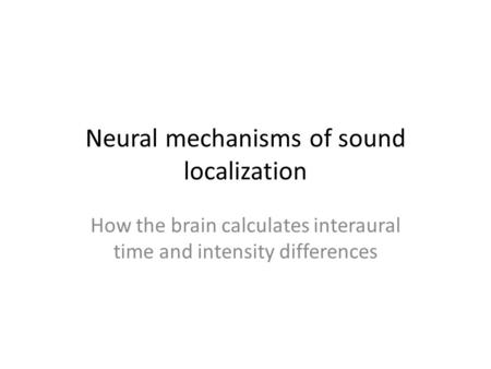 Neural mechanisms of sound localization How the brain calculates interaural time and intensity differences.