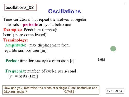 1 Oscillations oscillations_02 CP Ch 14 How can you determine the mass of a single E-coli bacterium or a DNA molecule ? CP458 Time variations that repeat.