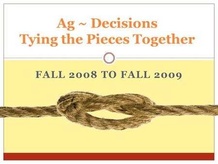 FALL 2008 TO FALL 2009 Ag ~ Decisions Tying the Pieces Together.