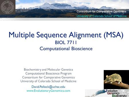 Biochemistry and Molecular Genetics Computational Bioscience Program Consortium for Comparative Genomics University of Colorado School of Medicine