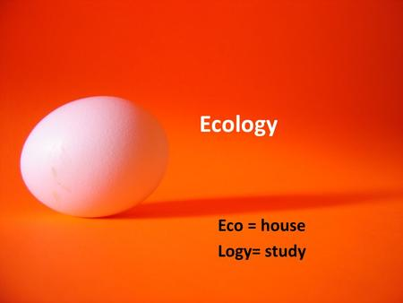 Ecology Eco = house Logy= study. Ecosystem: A community of organisms and their environment Biosphere: the largest ecosystem (Ecosystems are threatened.