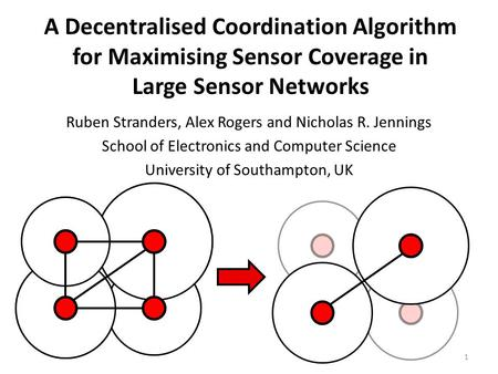 A Decentralised Coordination Algorithm for Maximising Sensor Coverage in Large Sensor Networks Ruben Stranders, Alex Rogers and Nicholas R. Jennings School.