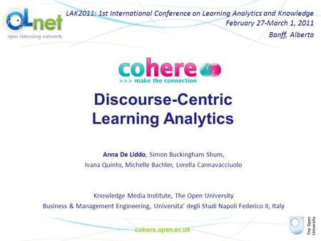 Cohere.open.ac.uk Discourse-Centric Learning Analytics LAK2011: 1st International Conference on Learning Analytics and Knowledge February 27-March 1, 2011.