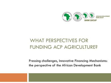 WHAT PERSPECTIVES FOR FUNDING ACP AGRICULTURE? Pressing challenges, Innovative Financing Mechanisms: the perspective of the African Development Bank.