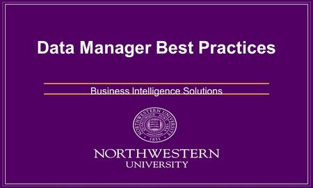 Data Manager Best Practices Business Intelligence Solutions.