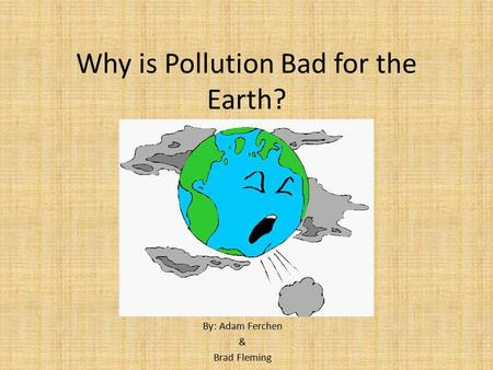 Why is Pollution Bad for the Earth?