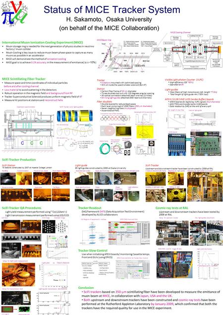 Status of MICE Tracker System H. Sakamoto, Osaka University (on behalf of the MICE Collaboration) International Muon Ionization Cooling Experiment (MICE)
