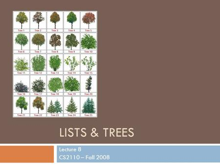 LISTS & TREES Lecture 8 CS2110 – Fall 2008. List Overview 2  Purpose  Maintain an ordered set of elements (with possible duplication)  Common operations.