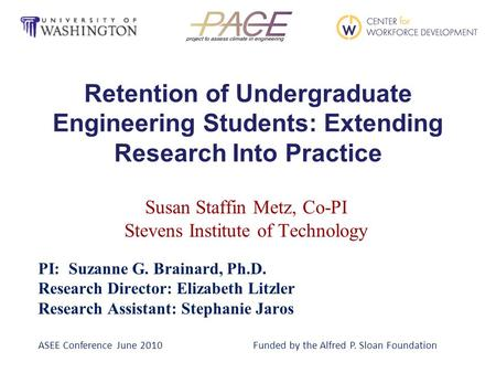 Retention of Undergraduate Engineering Students: Extending Research Into Practice Susan Staffin Metz, Co-PI Stevens Institute of Technology PI: Suzanne.