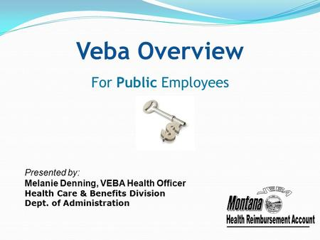 Veba Overview For Public Employees Presented by: Melanie Denning, VEBA Health Officer Health Care & Benefits Division Dept. of Administration.