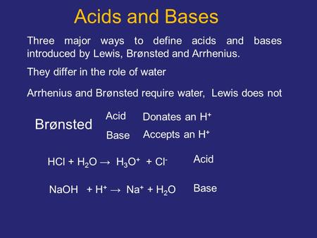 Acids and Bases Three major ways to define acids and bases introduced by Lewis, Brønsted and Arrhenius. They differ in the role of water Arrhenius and.