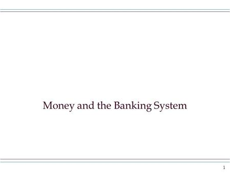 money and banking learning outcomes