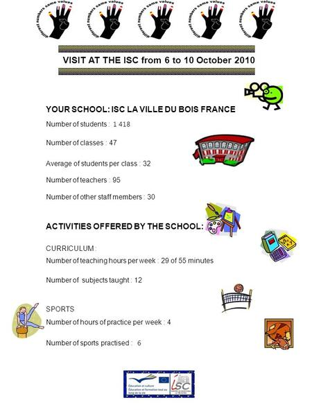 VISIT AT THE ISC from 6 to 10 October 2010 YOUR SCHOOL: ISC LA VILLE DU BOIS FRANCE Number of students : 1 418 Number of classes : 47 Average of students.