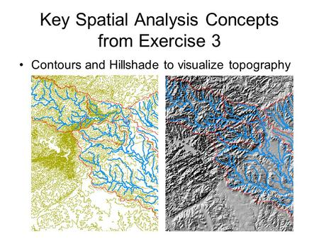 Key Spatial Analysis Concepts from Exercise 3 Contours and Hillshade to visualize topography.