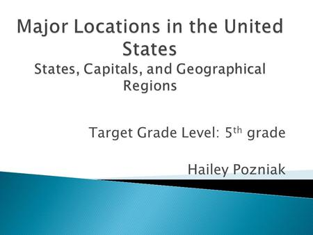 Target Grade Level: 5 th grade Hailey Pozniak.  To provide knowledge to students of where each of the fifty states are located, what their capital is,
