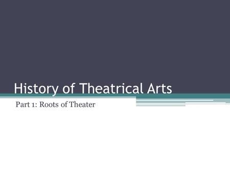 History of Theatrical Arts Part 1: Roots of Theater.