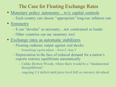 The Case for Floating Exchange Rates