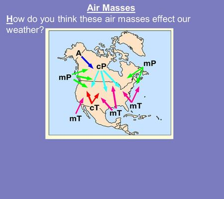 Air Masses How do you think these air masses effect our weather?