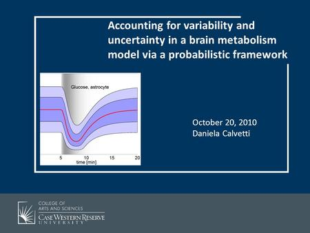 October 20, 2010 Daniela Calvetti Accounting for variability and uncertainty in a brain metabolism model via a probabilistic framework.
