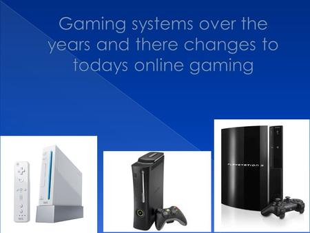  Gaming has come a long way from the times of the Atari to todays wii,xbox 360 and PS3  As graphics have changed to has the type of games  With competing.